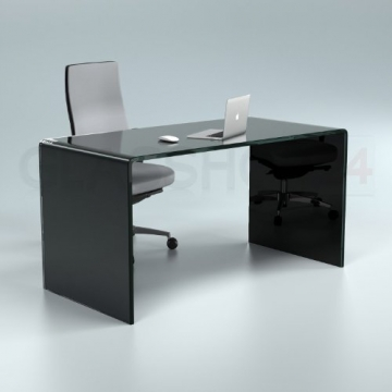 Design Schreibtisch aus 15mm Echtglas Seitenansicht