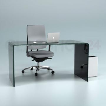 Design Schreibtisch aus 15mm Echtglas