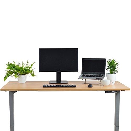 Ergotopia Elektrisch höhenverstellbarer Schreibtisch 5 Jahre Garantie | Ergonomischer Steh-Sitz Tisch mit Memory Funktion | Beugt Rückenschmerzen vor & Macht produktiver (160 x 80 cm, Buche) - 2