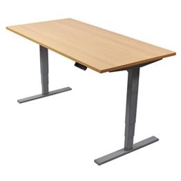 Ergotopia Elektrisch höhenverstellbarer Schreibtisch 5 Jahre Garantie | Ergonomischer Steh-Sitz Tisch mit Memory Funktion | Beugt Rückenschmerzen vor & Macht produktiver (160 x 80 cm, Buche) - 1