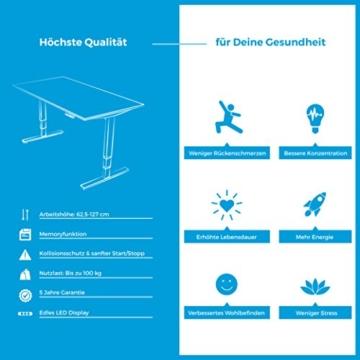 Ergotopia Elektrisch höhenverstellbarer Schreibtisch 5 Jahre Garantie | Ergonomischer Steh-Sitz Tisch mit Memory Funktion | Beugt Rückenschmerzen vor & Macht produktiver (160 x 80 cm, Buche) - 5