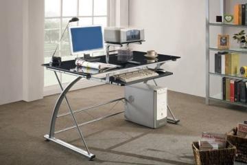 Foo im Büro SixBros. Computerschreibtisch Glas/Silbergrau - CT-3350/33