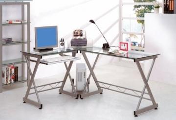 SixBros. Computerschreibtisch Glas/Silbergrau Foto im Büro