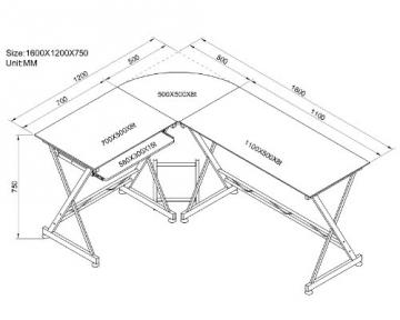 Maßzeichnung SixBros. Computerschreibtisch Glas/Silbergrau