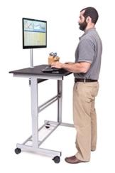 Stand Up Desk Store 100cm Länge Höhenverstellbarer Schreibtisch (Rahmen silber/Holz schwarz) - 1